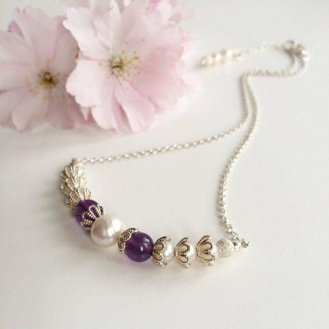 Amethyst, pearl and silver bridal necklace