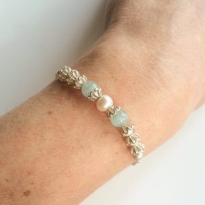 Blue bridal bracelet