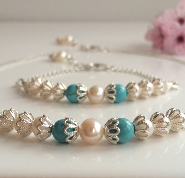 Pearl and Turquoise Necklace and Bracelet | Me Me Jewellery
