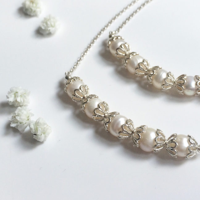 Filigree Silver and Pearl Set | Me Me Jewellery