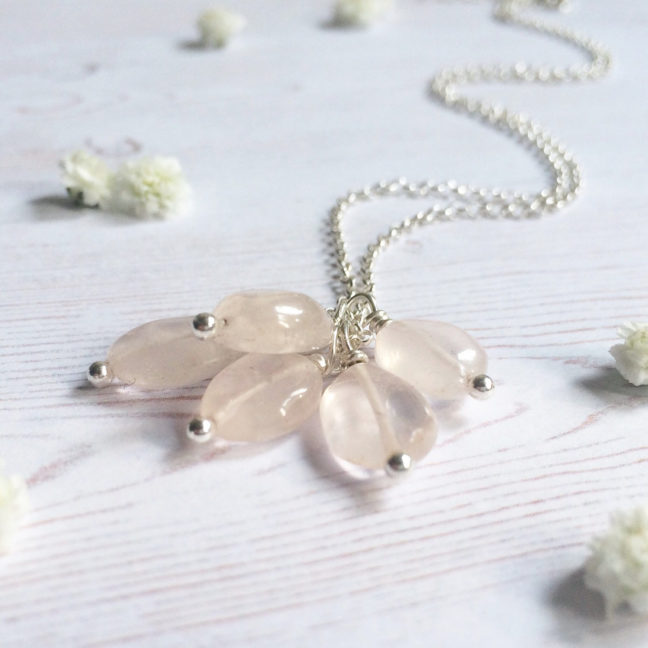 Rose quartz charm necklace