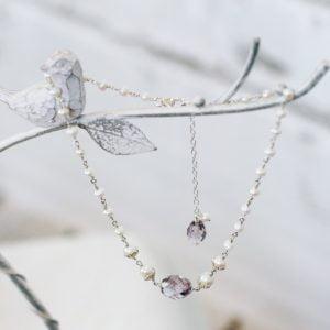 Pink amethyst rosary link pearl choker | Me Me Jewellery