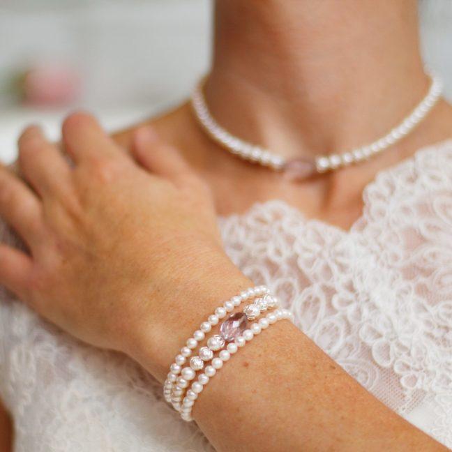 Pink Amethyst Three Strand Pearl Bracelet | By Me Me Jewellery
