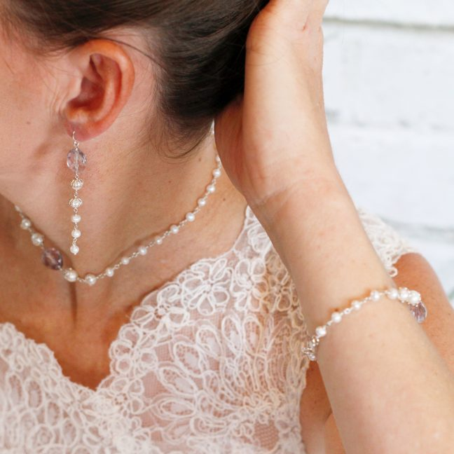 Pearl and amethyst bridal set | Me Me Jewellery