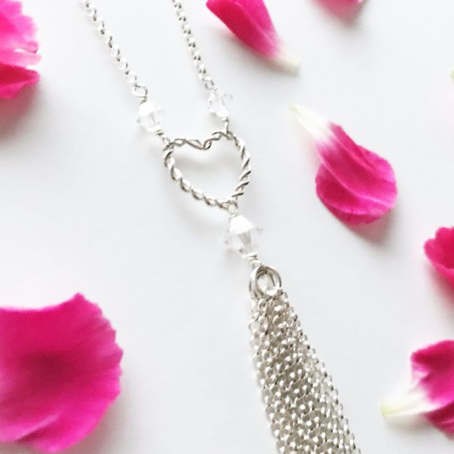 Silver Heart Tassel Necklace | By Me Me Jewellery