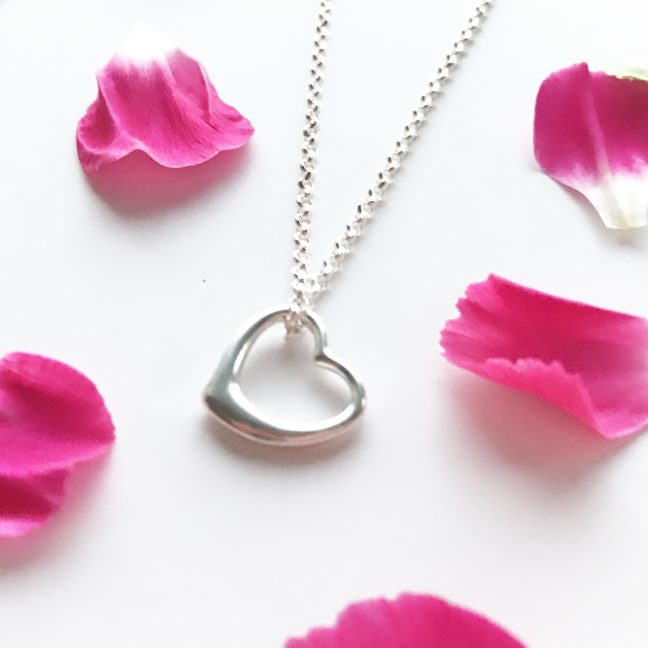 Silver Heart Pendant   By Me Me Jewellery