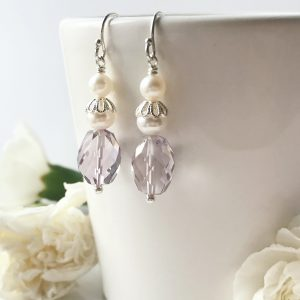 Pink Amethyst and Pearl Earrings | By Me Me Jewellery