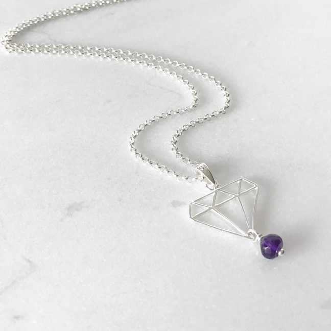 February - Amethyst and Daimond Necklace | By Me Me Jewellery