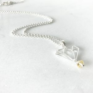 November - Citrine and Diamond Necklace | By Me Me Jewellery