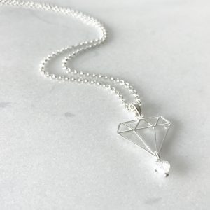 April - Crystal and Diamond Necklace | By Me Me Jewellery