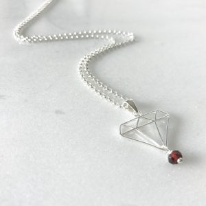 January - Garnet and Diamond Necklace | By Me Me Jewellery