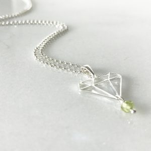 August - Peridot and Diamond Necklace | By Me Me Jewellery