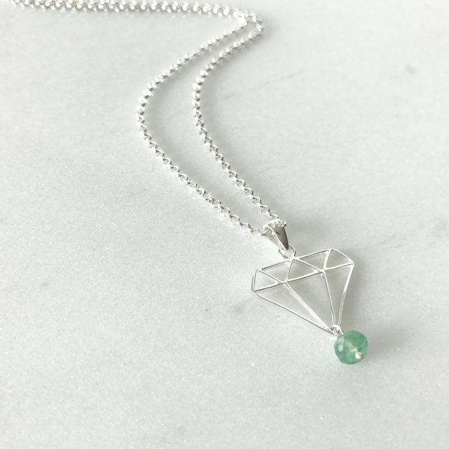 May - Emerald and Diamond Necklace | By Me Me Jewellery