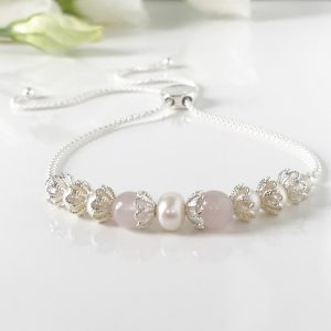 Freshwater Pearl and Rose Quartz Bracelet | By Me Me Jewellery
