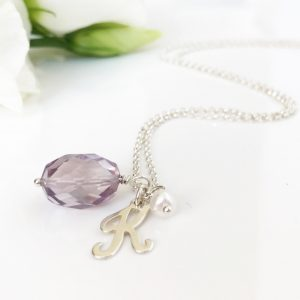 Amethyst Initial Necklace | By Me Me Jewellery