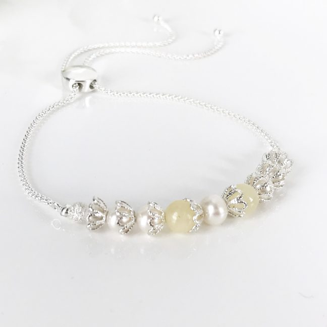Pearl and Silver Slider Bracelet | By Me Me Jewellery