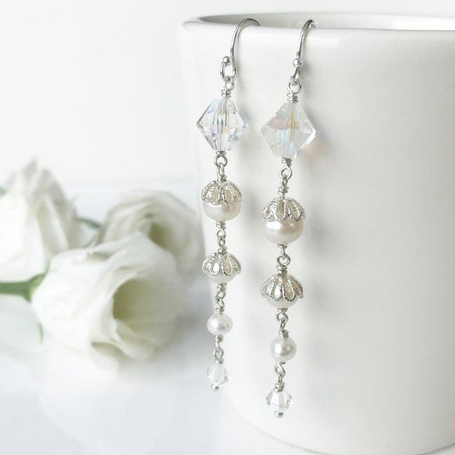 Crystal Bridal Earrings | By Me Me Jewellery