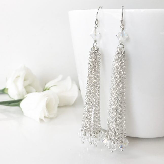 Crystal Tassel earrings | By Me Me Jewellery