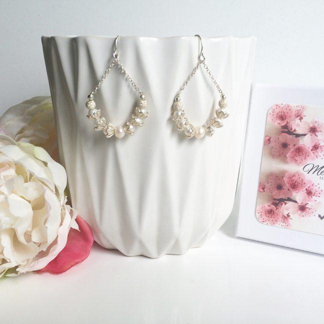 Freshwater Pearl Earrings in Loop Design | By Me Me Jewellery