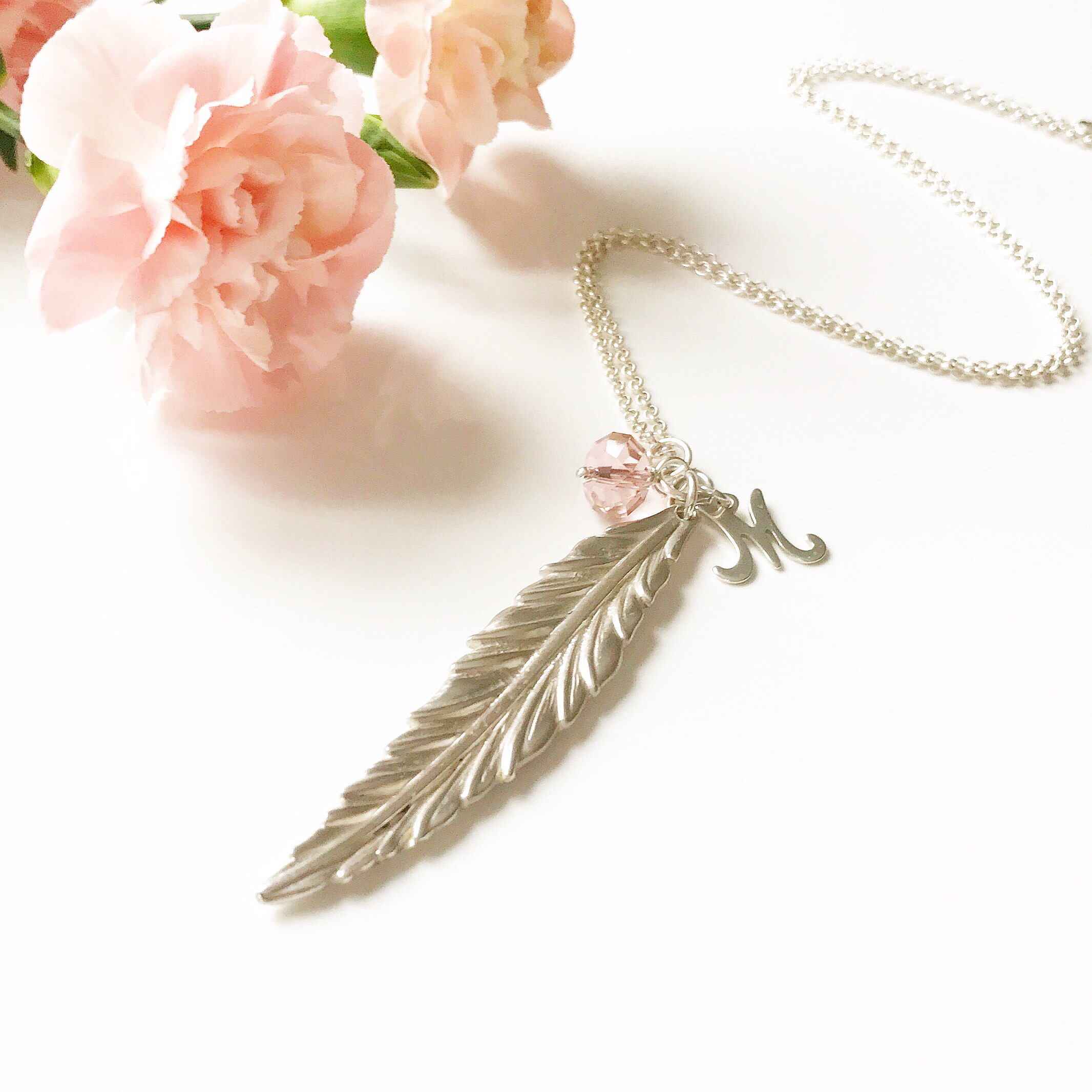 Feather Initial Necklace with Vintage Rose Crystal   Me Me Jewellery