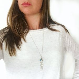 Feather Initial Necklace with Aqua | By Me Me Jewellery