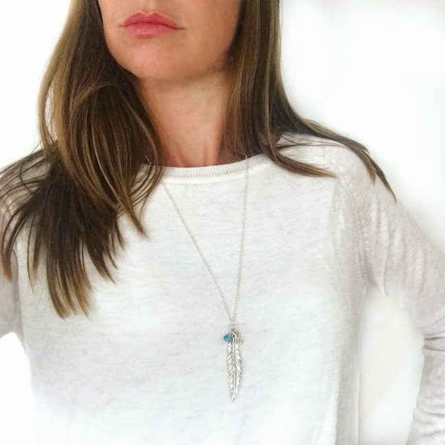 Feather Initial Necklace with Aqua   By Me Me Jewellery