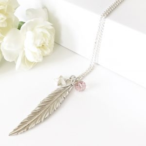 Feather Necklace with Vintage Rose   By Me Me Jewellery