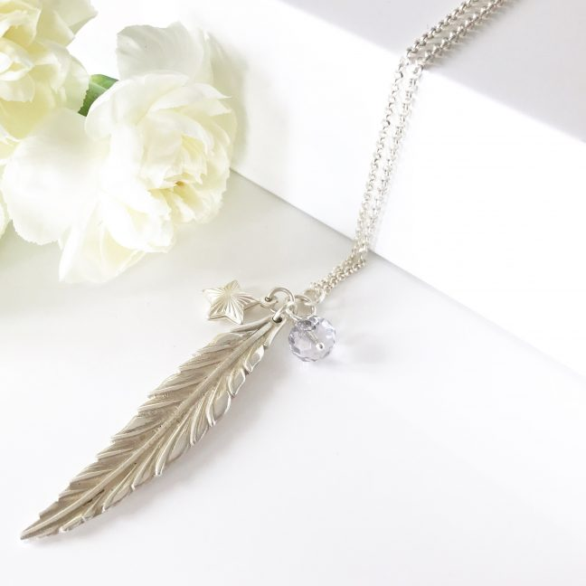 Feather Necklace with Smoky Mauve | By Me Me Jewellery