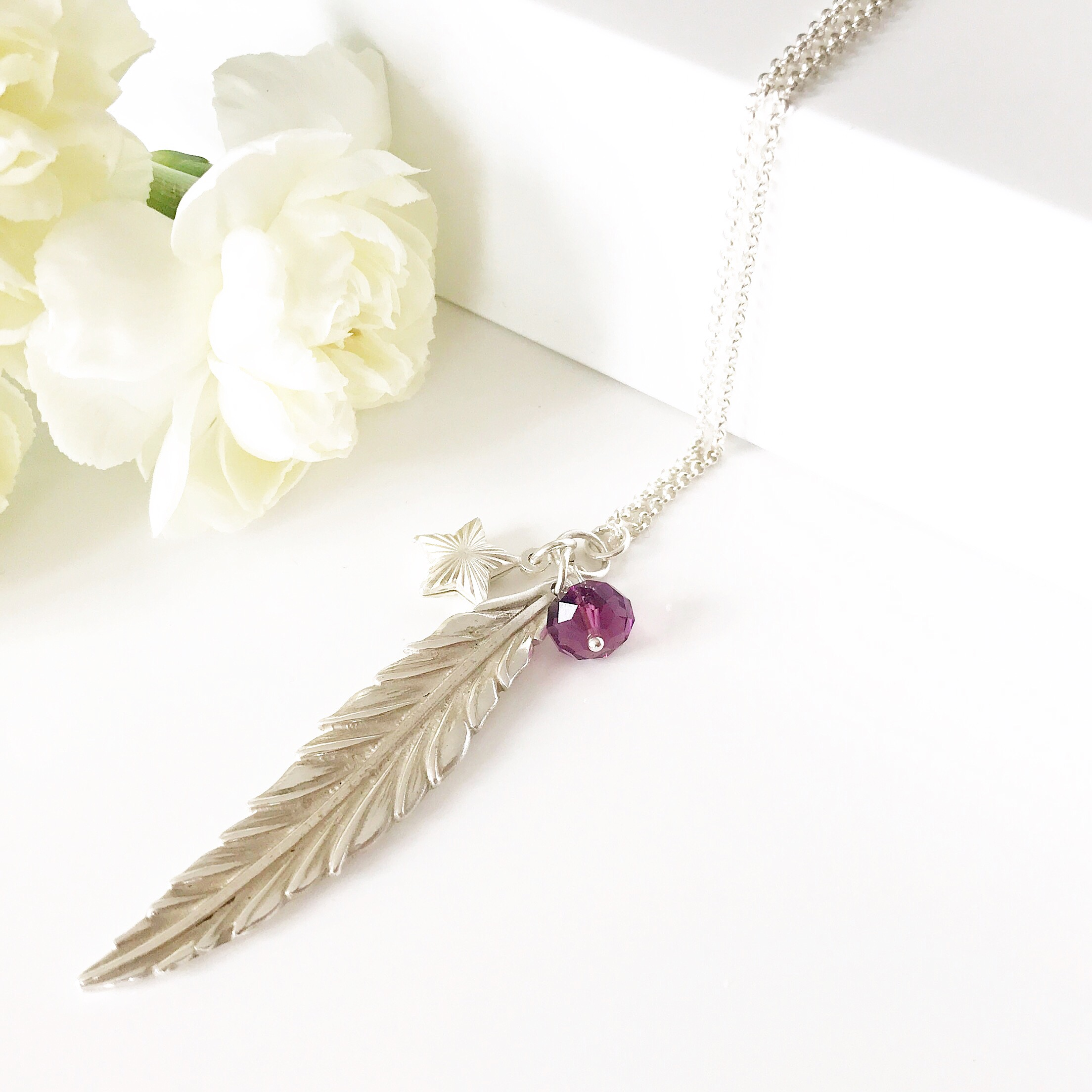 Feather Necklace with Amethyst Colour | By Me Me Jewellery