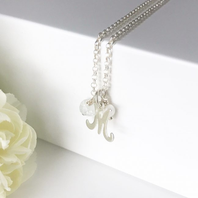 Aquamarine Initial Necklace | By Me Me Jewellery