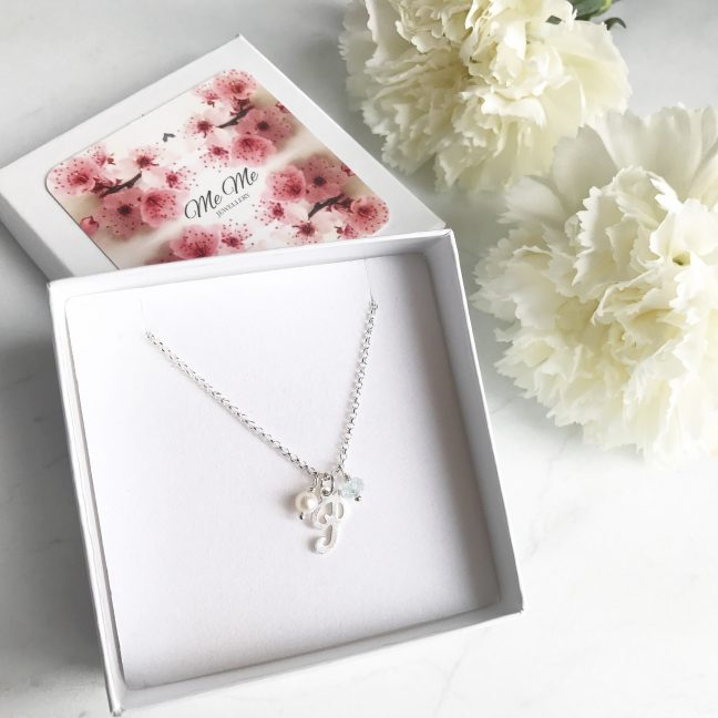 Aquamarine Necklace in Gift Box | By Me Me Jewellery