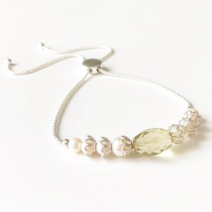 Lemon Quartz and Silver Slider Bracelet | By Me Me Jewellery
