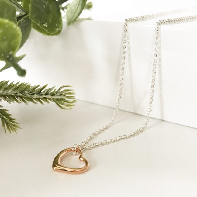 Rose Gold Heart Necklace | Me Me Jewellery