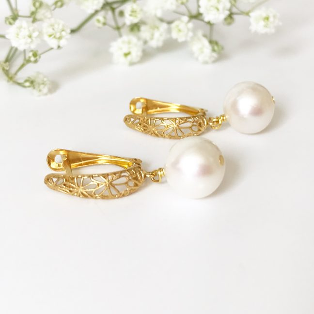 Gold Pearl Earrings | Me Me Jewellery