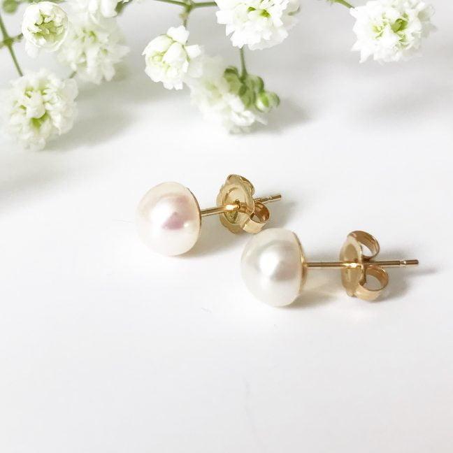 Gold pearl stud earrings | Me Me Jewellery