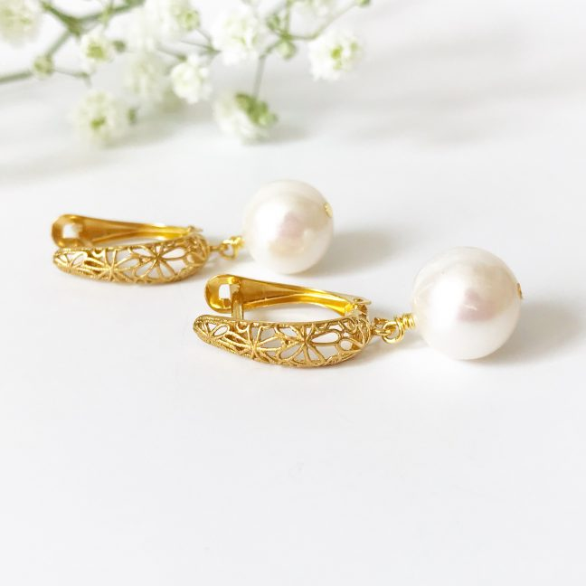 Gold Pearl Drop Earrings | Me Me Jewellery