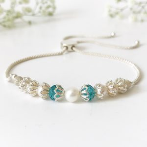 Teal and pearl bracelet | Me Me Jewellery