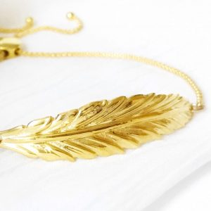 Gold Boho Feather Bracelet | Me Me Jewellery