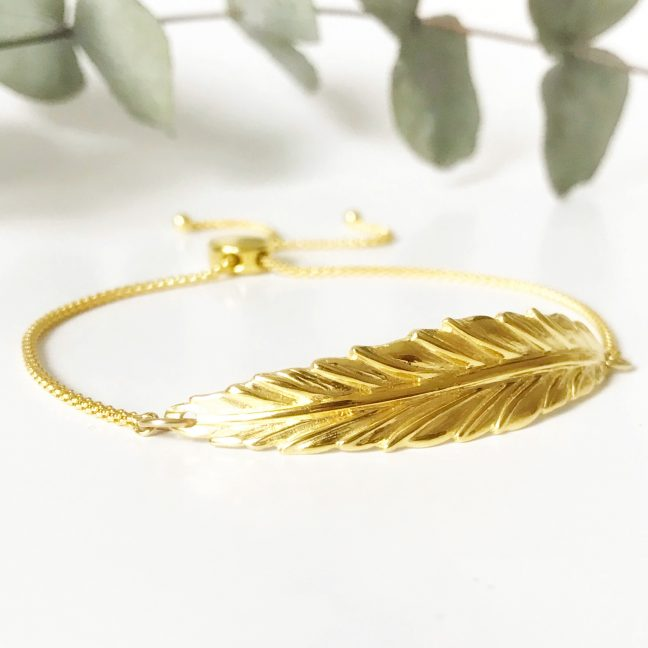 Yellow Gold Feather Bracelet | Me Me Jewellery