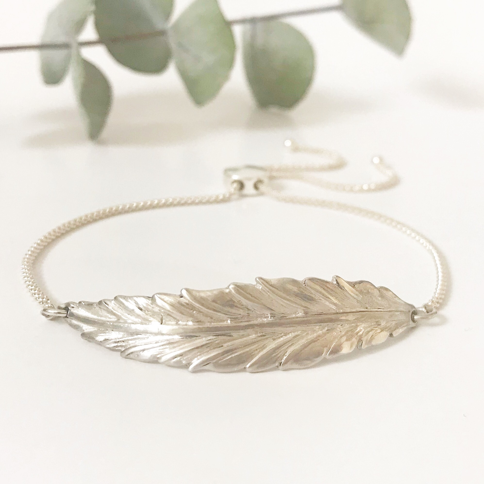 Sterling Silver Feather Bracelet | Me Me Jewellery