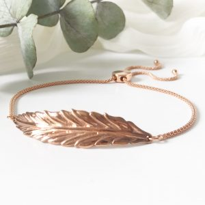 Rose Gold Feather Bracelet | Me Me Jewellery