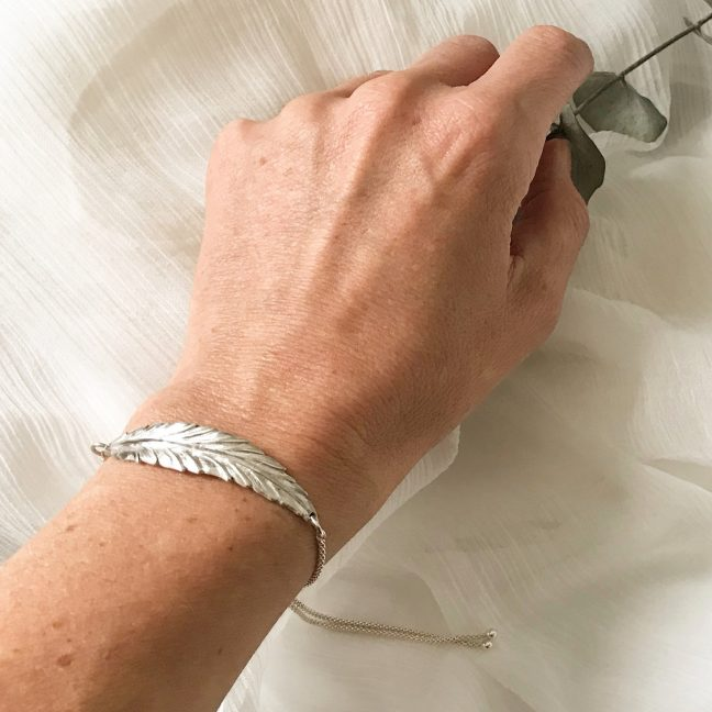 Silver feather bracelet | Me Me Jewellery