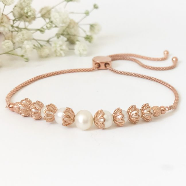 Freshwater pearl and rose gold bracelet | Me Me Jewellery