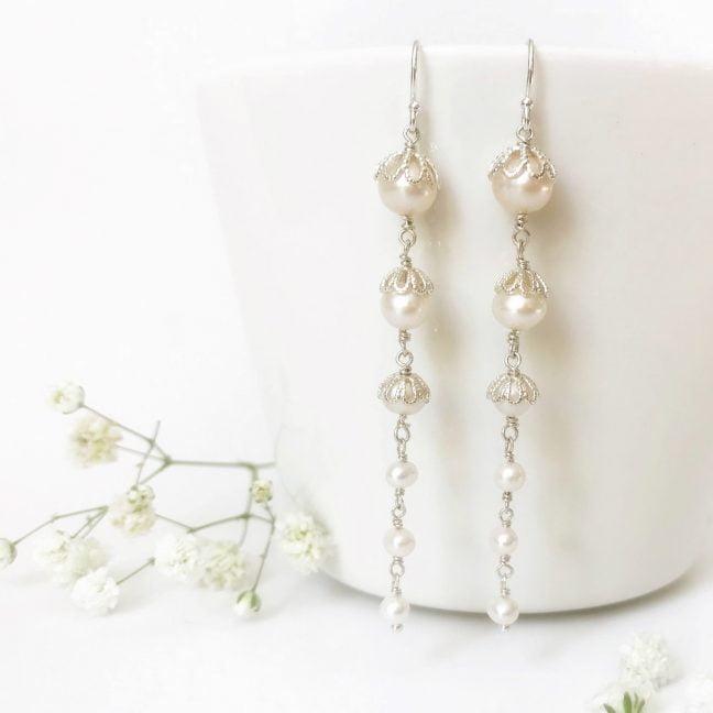 Sterling silver bridal earrings | Me Me Jewellery