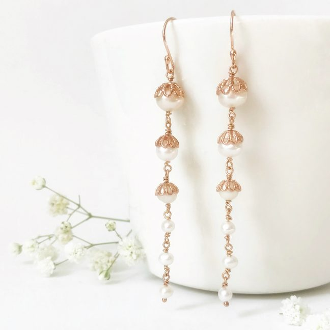 Pearl and rose gold bridal earrings | Me Me Jewellery