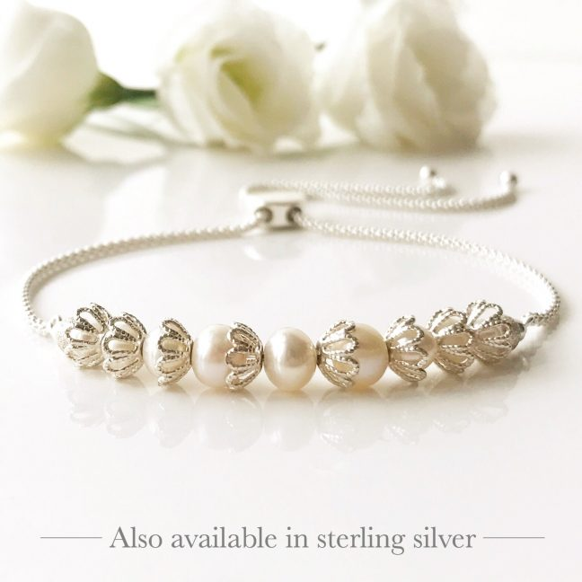 Freshwater pearl and silver bracelet | Me Me Jewellery