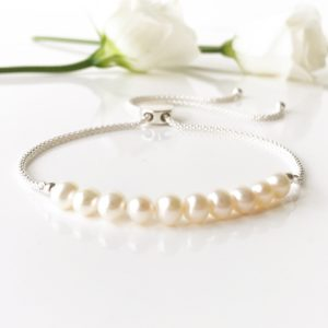 Freshwater pearl Bracelet with Sliver Slider | Me Me Jewellery