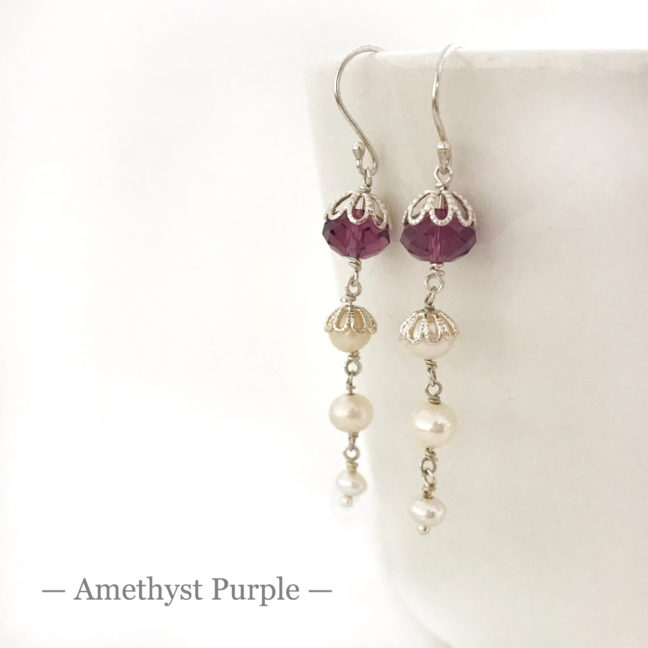 Purple Crystal Earrings | Me Me Jewellery