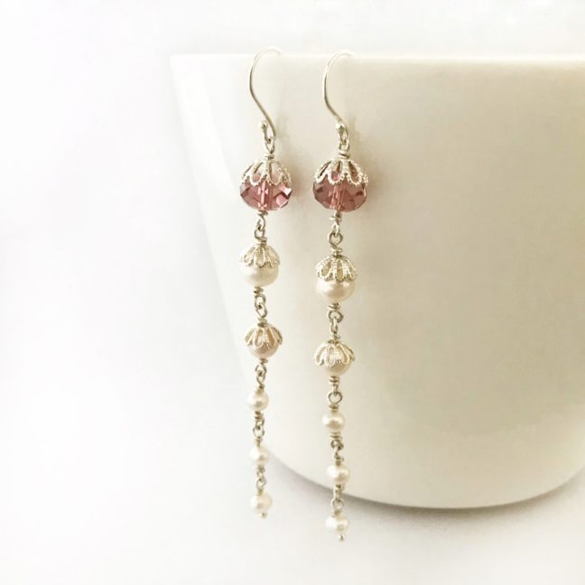Long Crystal Bridal Earrings | Me Me Jewellery