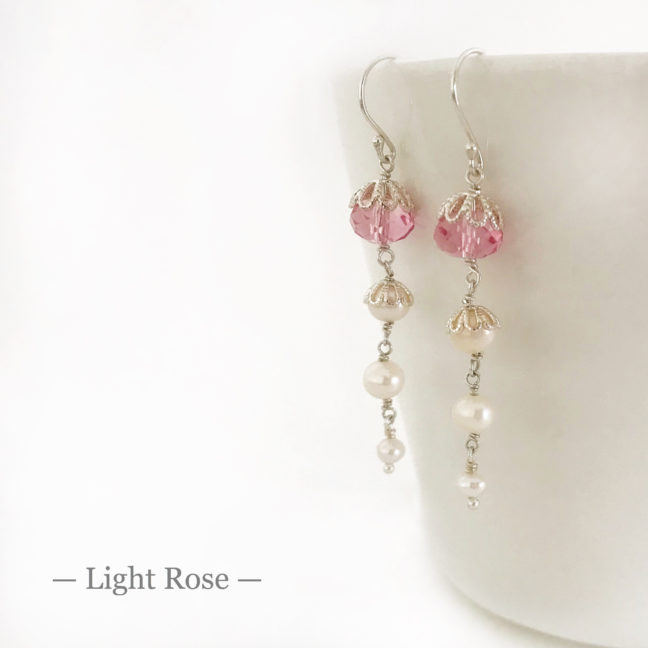 Light Rose Crystal Earrings | Me Me Jewellery